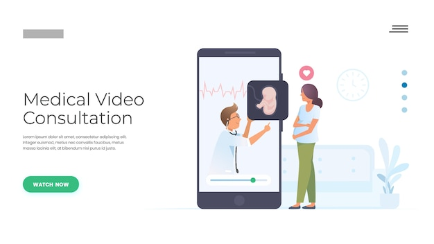 Consulta médica pelo médico Vetor Premium