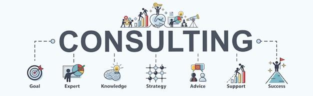 Consultoria ícone de web banner para negócios. Vetor Premium