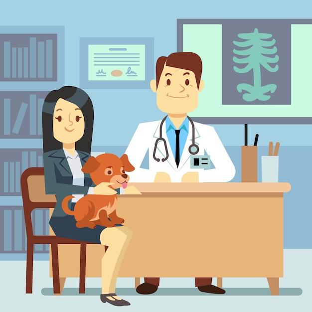 Consultório veterinário - mulher com cão e veterinário Vetor Premium