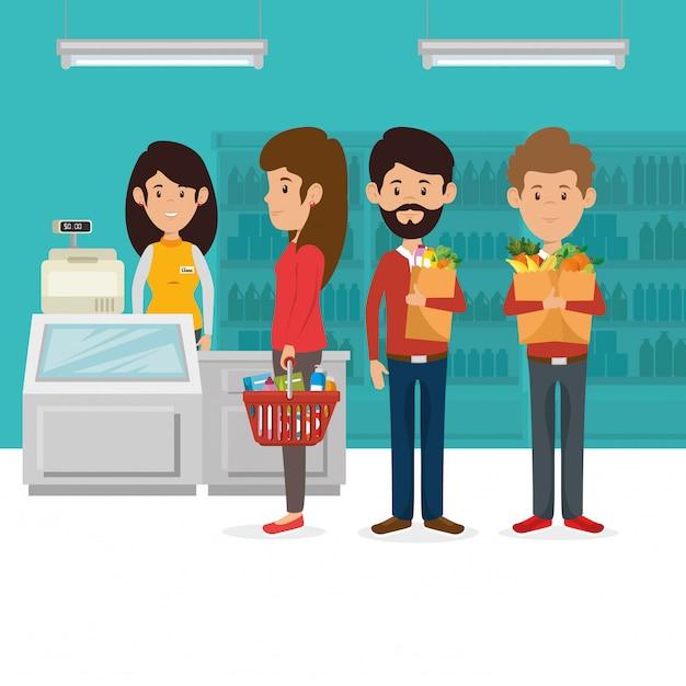 Consumidores com cesto de compras de supermercado Vetor grátis
