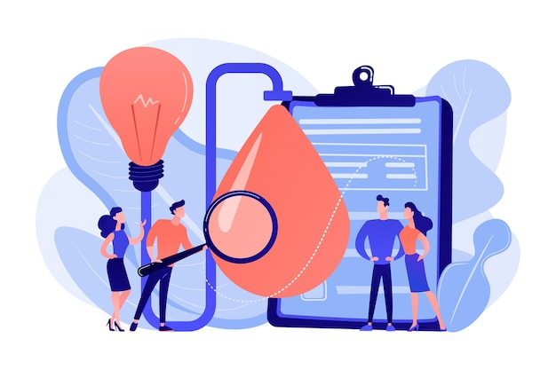 Consumidores com lupa testando novas propriedades do produto. teste de produto, identificação das necessidades do cliente, ilustração do conceito de estudos de pesquisa de mercado Vetor grátis