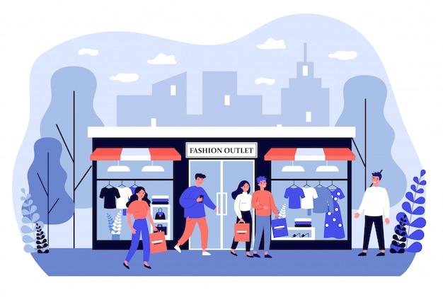 Consumidores de compras na ilustração de boutique de vestuário Vetor Premium