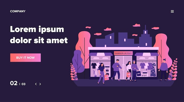 Consumidores fazendo compras em ilustrações de butique de roupas. pessoas felizes andando na rua da cidade perto de loja de moda, shopping ou loja. conceito de varejo e outlet de moda Vetor Premium