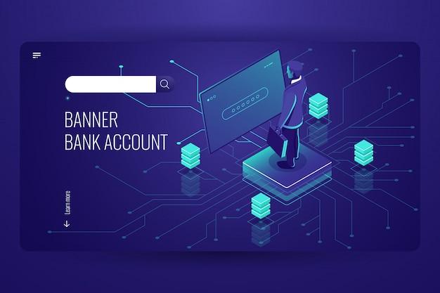 Conta bancária, serviço online de contabilidade, processo de acesso a dados, inteligência artificial Vetor grátis