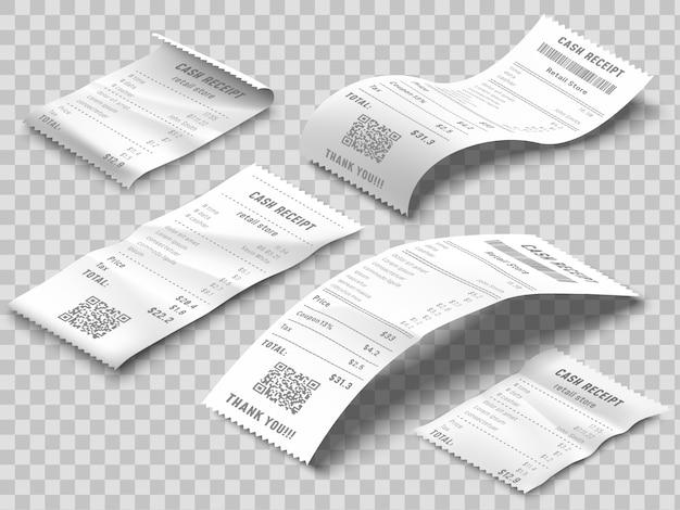 Conta de recibos isométrica. recibo de faturamento impresso, contas de pagamento e cheque bancário financeiro imprimem conjunto realista Vetor Premium