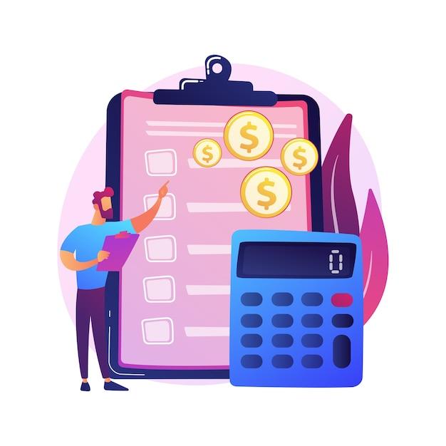 Contabilidade financeira. personagem de desenho animado de contador masculino fazendo relatório financeiro. resumo, análise, relatórios. demonstração financeira, receita e saldo Vetor grátis