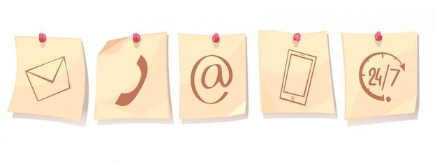 Contacte-nos conceito dos desenhos animados retrô com folhas de papel em tachas com ícones de serviço de apoio Vetor grátis