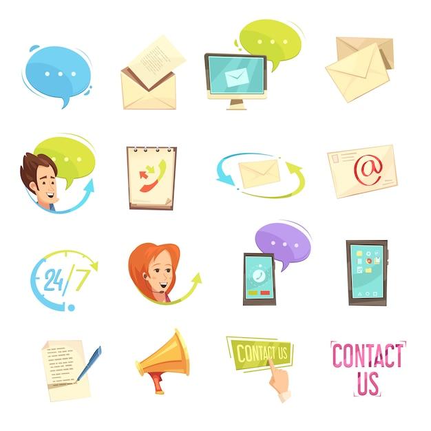 Contacte-nos conjunto de ícones retrô dos desenhos animados Vetor grátis