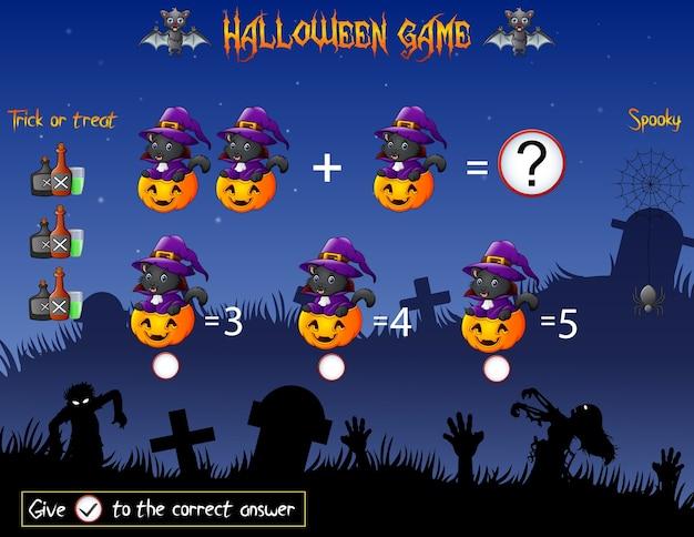 Contagem de jogos a abóbora bruxa gato no tema de halloween Vetor Premium