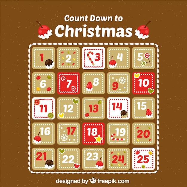 Contagem regressiva do calendário do advento ao natal Vetor grátis