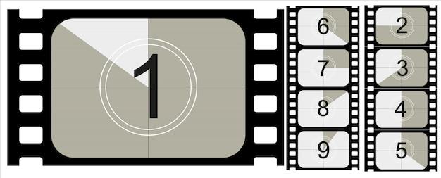 Contagem regressiva do filme, filme mudo vintage e filme fotográfico em branco de quadro completo ainda proporções de trinta e cinco milímetros, conjunto de ícones Vetor Premium