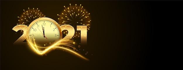 Contagem regressiva para o ano novo de 2020 com relógio e banner de fogos de artifício Vetor grátis