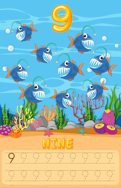 Contando a planilha matemática de peixe Vetor grátis