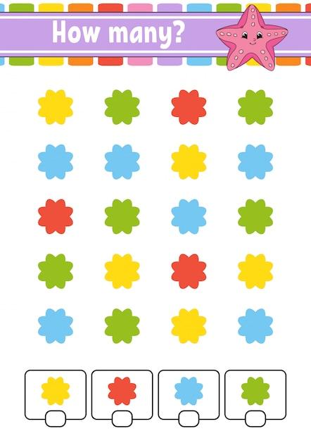 Contando jogo para crianças em idade pré-escolar. Vetor Premium