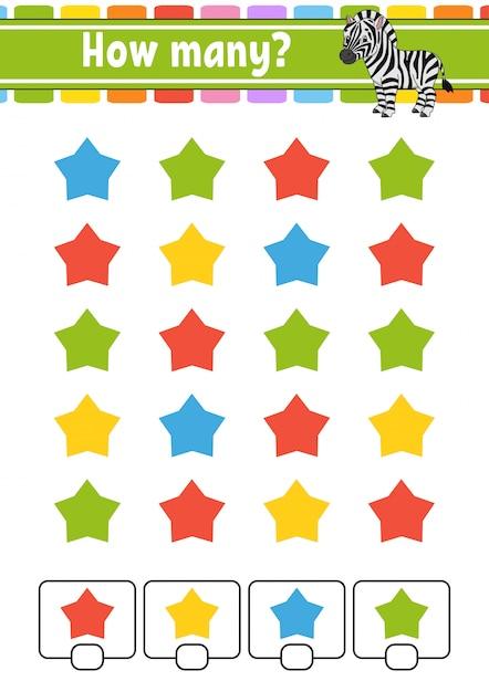 Contando jogo para crianças. personagens felizes. aprendendo matemática. quantos objetos na imagem. Vetor Premium