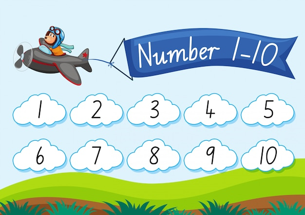 Contar número para dez Vetor grátis