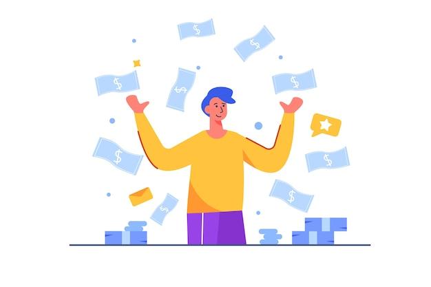 Contas de dinheiro estão caindo sobre um empresário e ele se alegra com felicidade, dinheiro, sucesso, isolado. Vetor Premium