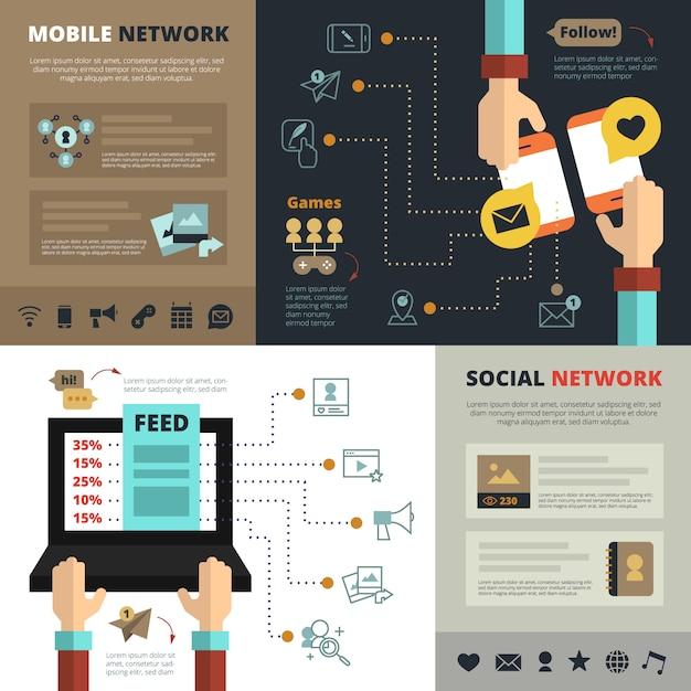 Contatos de redes sociais móveis alimentam composição plana de banners Vetor grátis