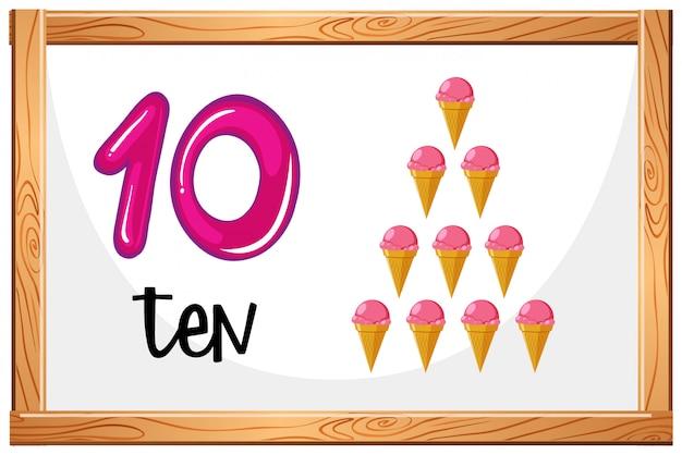 Conte até 10 conceito de sorvete Vetor grátis