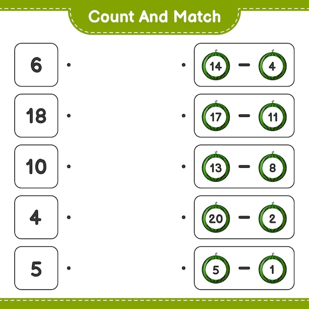 Conte e combine, conte o número de melancias e combine com os números certos. jogo educativo para crianças, planilha para impressão Vetor Premium