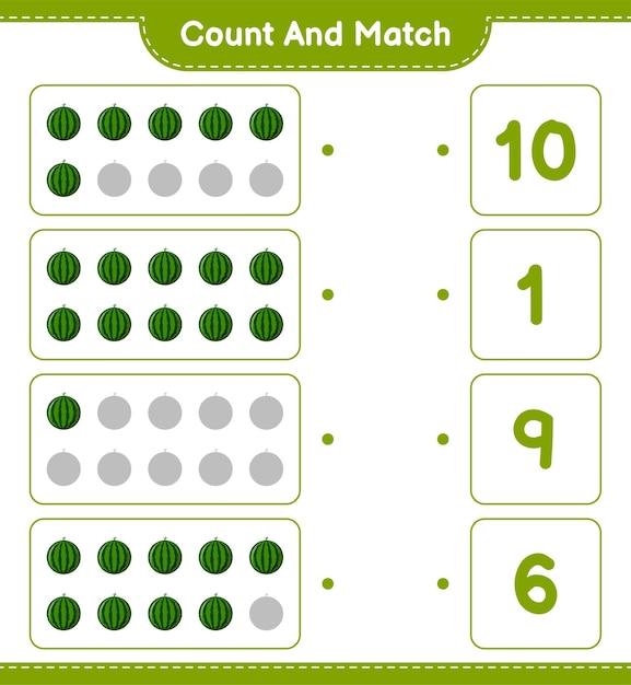 Conte e combine, conte o número de melancias e combine com os números certos. jogo educativo para crianças, planilha para impressão. Vetor Premium