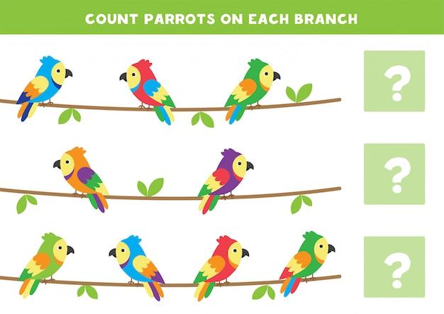 Conte o número de papagaios em cada filial. jogo de matemática para crianças. Vetor Premium