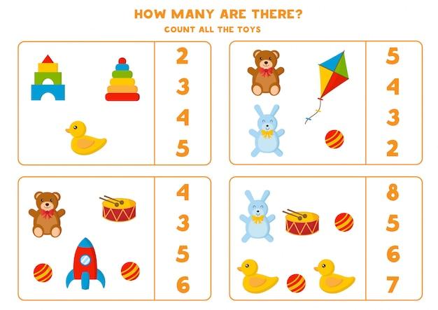 Conte quantos brinquedos existem. jogo de matemática para crianças. Vetor Premium