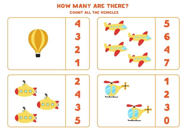Conte todos os meios de transporte e circule a resposta certa. jogo de matemática. Vetor Premium