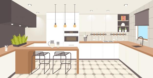 Contemporâneo cozinha interior vazio sem pessoas casa quarto moderno apartamento horizontal Vetor Premium