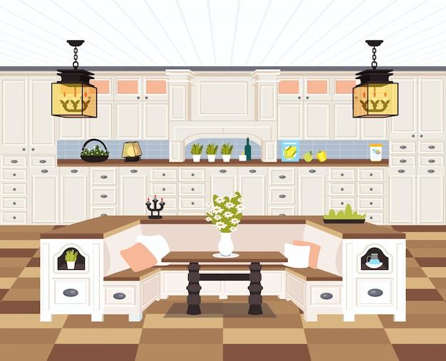Contemporâneo cozinha interior vazio sem pessoas casa sala de jantar moderno apartamento Vetor Premium