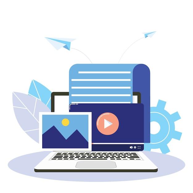 Conteúdo envolvente, blogs, planejamento de mídia, promoção no conceito de mídia social. Vetor Premium
