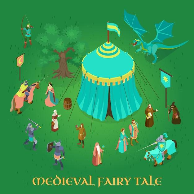 Conto de fadas medieval com cavaleiros da princesa casal real e dragão verde Vetor grátis