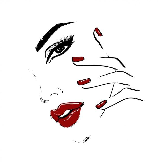 Contorne o rosto com os lábios vermelhos e unhas Vetor Premium