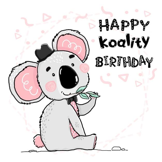 Contorno bonito desenho feliz coala cinza e rosa usar chapéu preto e arco cartão Vetor Premium