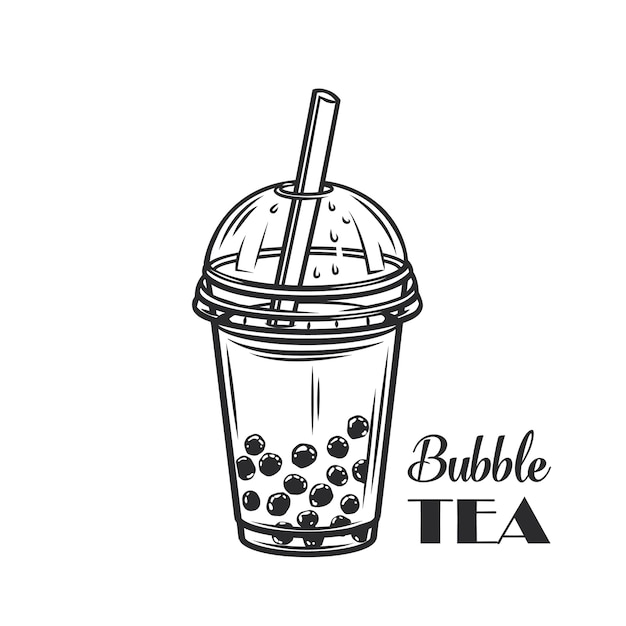 Contorno de chá com leite bolha Vetor Premium