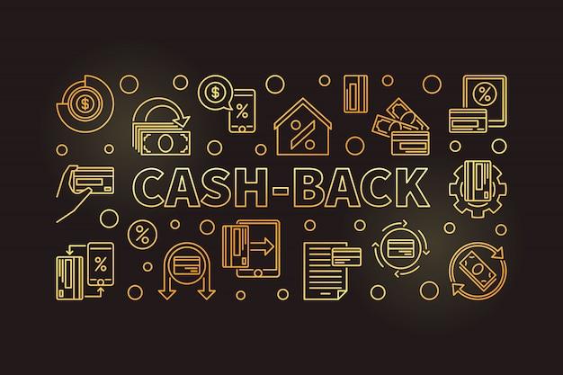 Contorno de dinheiro dourado ilustração horizontal fundo escuro Vetor Premium