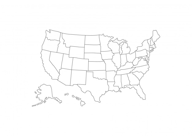 Contorno de mapa dos eua em fundo branco Vetor Premium
