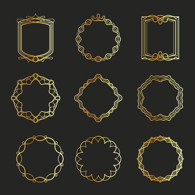 Contorno de ouro emblemas e quadros de distintivos Vetor Premium