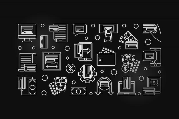 Contorno de prata cartão de pagamento horizontal icon ilustração Vetor Premium