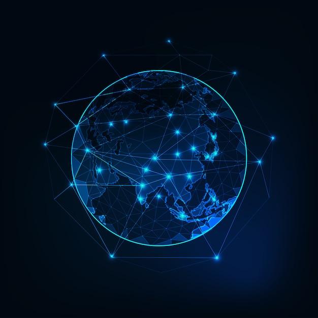 Contorno do continente mapa ásia no planeta terra Vetor Premium