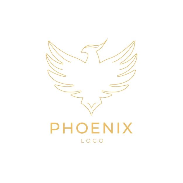 Contorno do logotipo de phoenix Vetor Premium