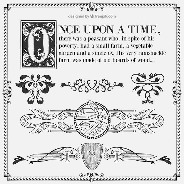 Contos de fadas caligráficos com ornamentos Vetor grátis