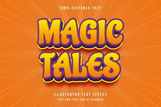 Contos mágicos 3d editável efeito de texto amarelo gradação laranja roxo moderno estilo cômico Vetor Premium