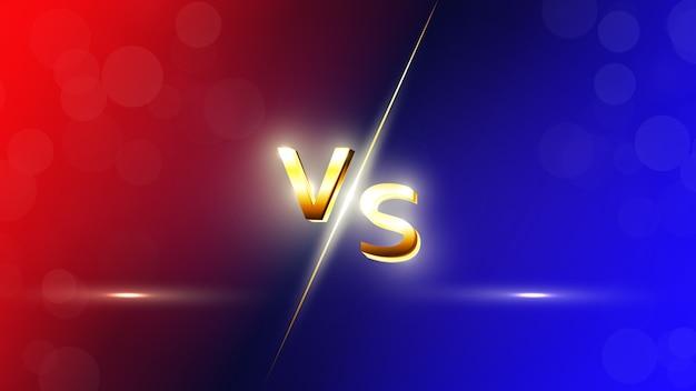 Contra o fundo vermelho e azul vs letras para esportes, competição de luta, batalha, partida e jogos. Vetor Premium