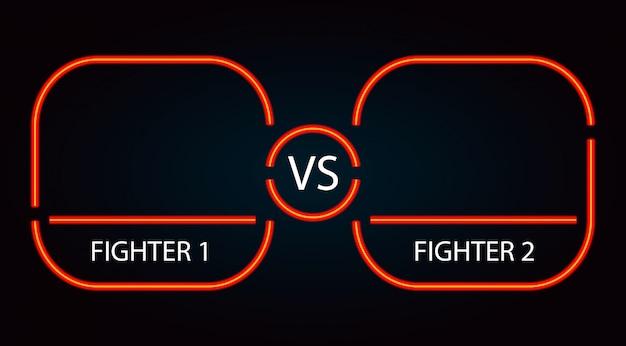 Contra o quadro de batalha vermelho néon Vetor Premium
