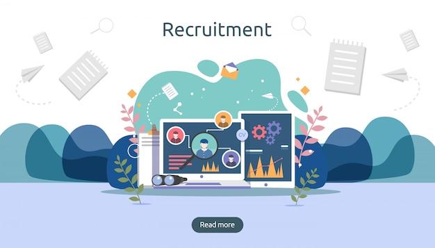 Contratação de emprego e conceito de recrutamento on-line com caráter de pessoas pequenas. selecione um processo de continuação. Vetor Premium