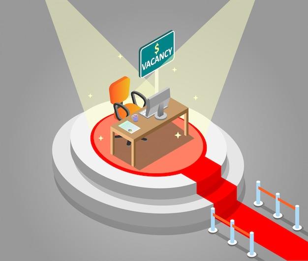 Contratação de empregos conceito isométrica ilustração vetorial Vetor Premium
