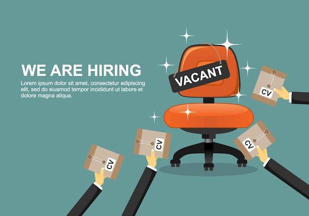 Contratação e recrutamento de empresas. Vetor Premium