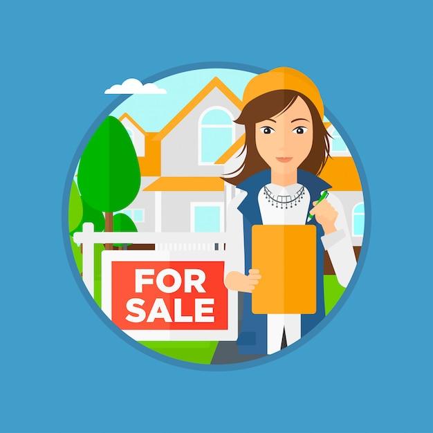 Contrato de assinatura de agente imobiliário. Vetor Premium