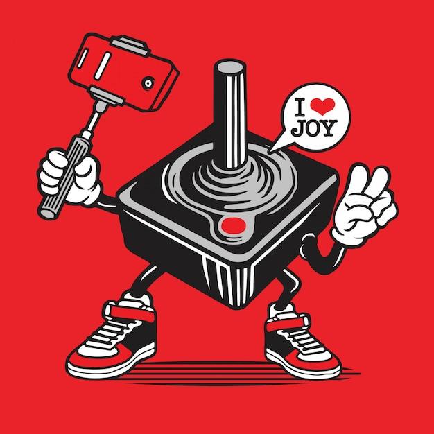 Controlador de joystick gamer selfie character Vetor Premium